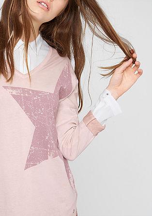 Sterrenshirt met garment wash effect