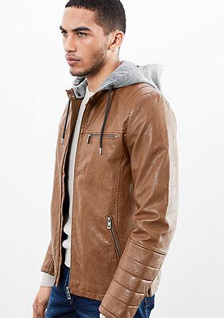 Stilmix-Jacke im Leder-Look