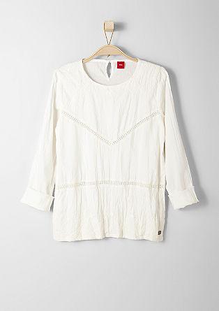 Stitching-Bluse mit Lochmuster
