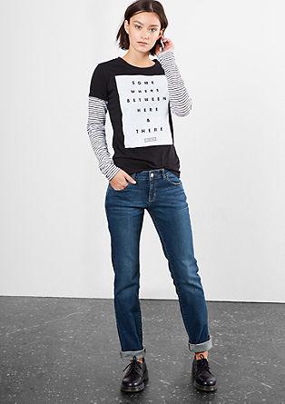 Straight: modre raztegljive jeans hlače