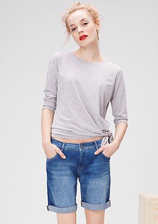 Straight fit: denim short met een used look