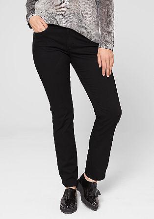 Straight fit: jeans met details van imitatieleer