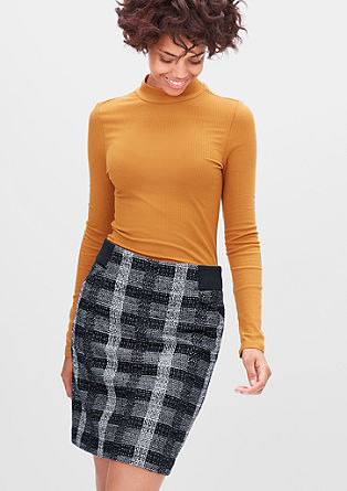Straight skirt with a ribbed waistband from s.Oliver