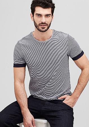 Streifen-Shirt mit Kontrast-Details