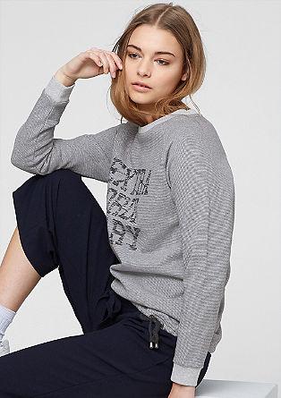 Streifen-Sweater mit Frontprint