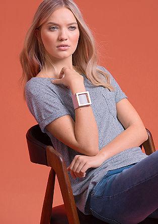 Streifenshirt aus Leinen-Mix
