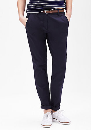 Stretch chinos made of cotton satin from s.Oliver