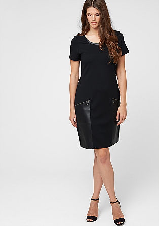 Stretch dress with imitation leather details from s.Oliver