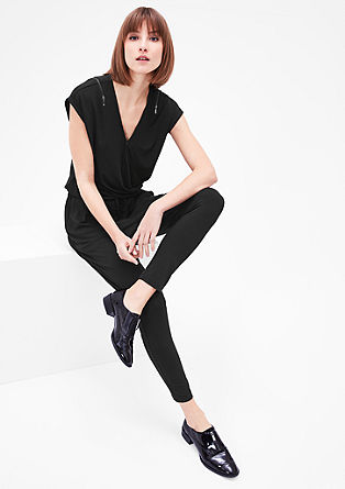 Stretch-Jumpsuit mit Zippern