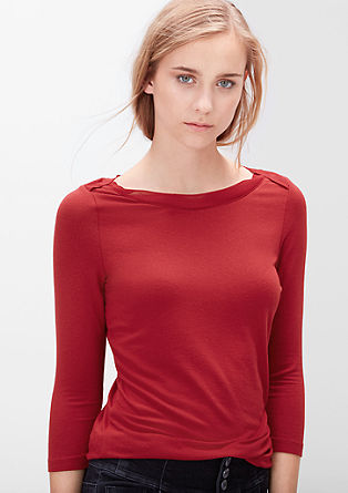 Stretch-Shirt mit Zierkragen