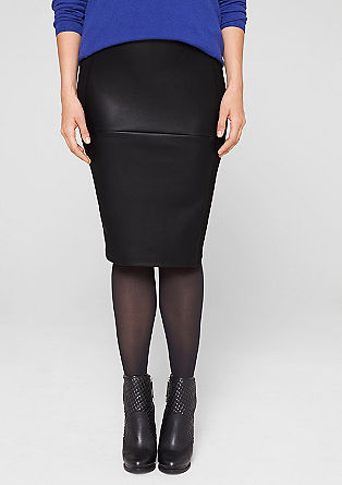 Stretch skirt + imitation leather from s.Oliver