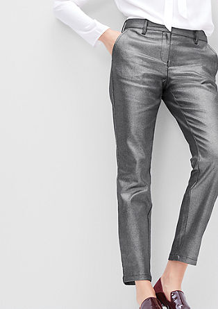 Stretch trousers in a metallic look from s.Oliver