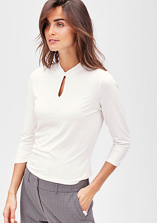 Stretch viscose top with 3/4-length sleeves from s.Oliver