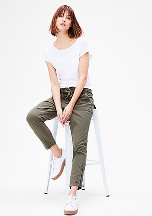 Stretchy 7/8 paperbag trousers from s.Oliver