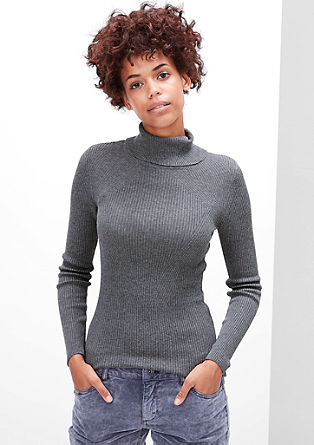 Stretchy rib knit roll neck from s.Oliver