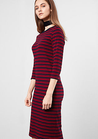 Stretchy ribbed dress with stripes from s.Oliver