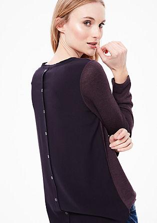 Strickpulli mit Blusen-Rückenteil