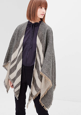Striped fringed poncho from s.Oliver