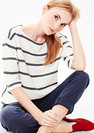 Striped jacquard blouse from s.Oliver
