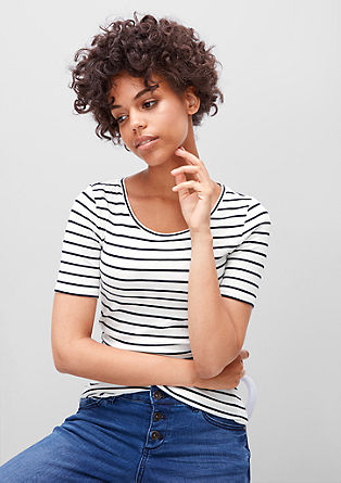 Striped ribbed top from s.Oliver