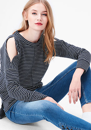 Striped sweatshirt with inside-out seams from s.Oliver