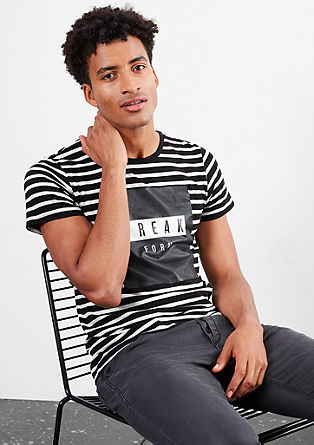 Striped T-shirt with a rubberised print from s.Oliver