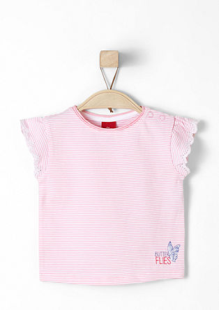 Striped T-shirt with openwork pattern from s.Oliver