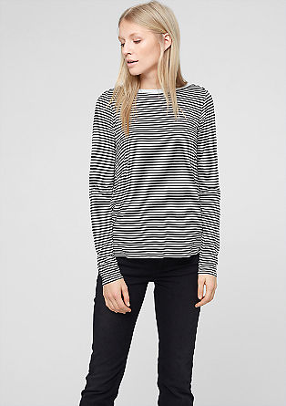 Striped top with a blouse detail from s.Oliver