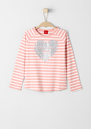 Striped top with a glitter print from s.Oliver