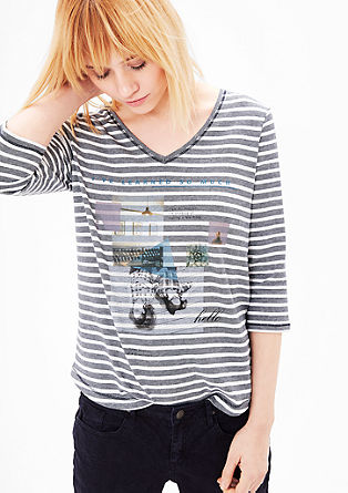 Striped top with a photo print from s.Oliver