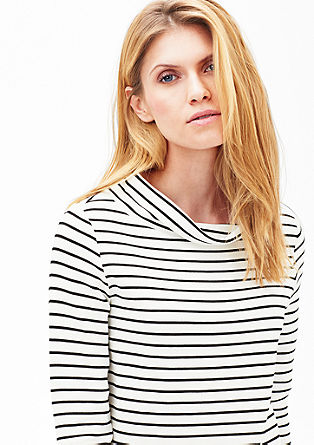 Striped top with a stand-up collar from s.Oliver