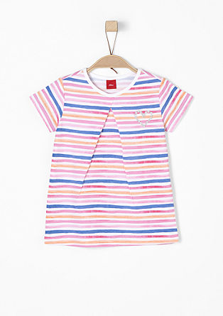 Striped top with heart embroidery from s.Oliver