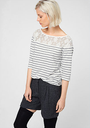 Striped top with lace from s.Oliver