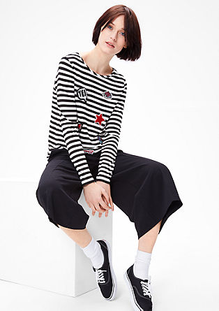 Striped top with patches from s.Oliver