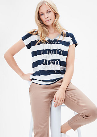 Striped V-neck top from s.Oliver