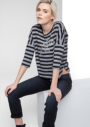 Stripy T-shirt with a front print from s.Oliver