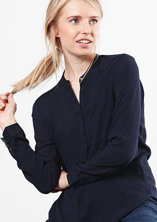 Struktur-Bluse mit Stehkragen