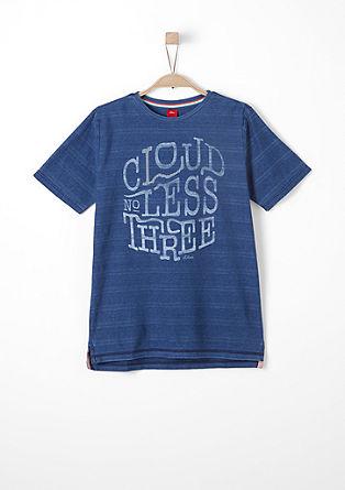 Strukturstreifen-Shirt mit Print