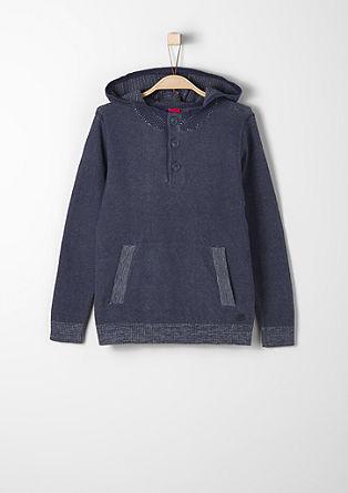 Strukturstrick-Pullover mit Kapuze