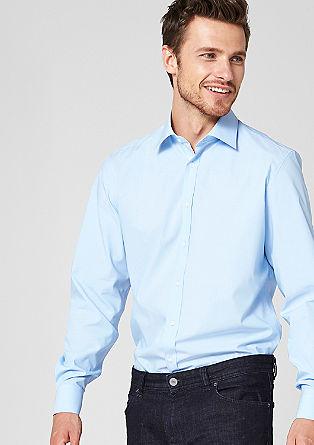 Style regular:overhemd met fijne streepjes en beleg