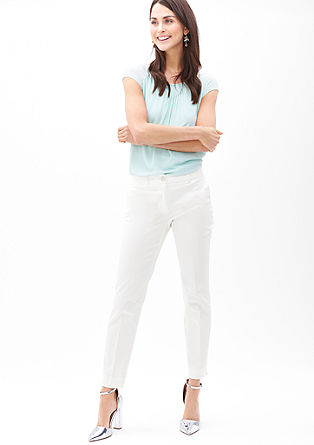 Sue Slim: cotton satin trousers from s.Oliver
