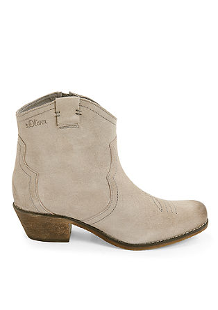 Suède booties in een cowboy look