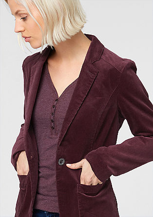 Suknjič iz rebrastega žameta z velikimi žepi