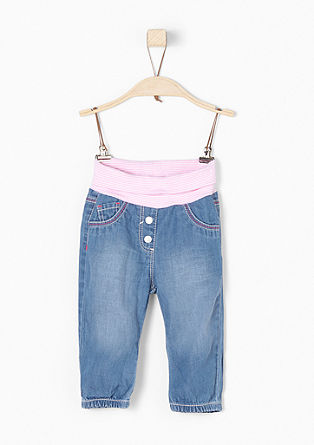 Summer jeans with a ribbed waistband from s.Oliver