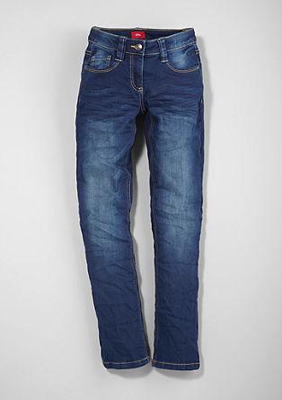 Suri slim: blue jeans met een garment wash