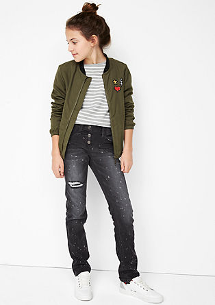 Suri Slim: jeans hlače z brizganimi barvnimi madeži