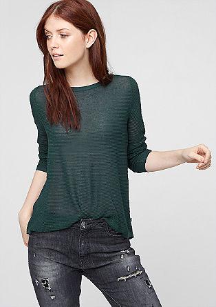 Svetlikajoč pulover z vstavkom iz šifona