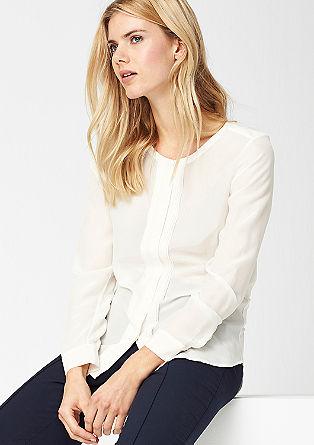 Svilena bluza s hrbtnim delom iz džersija