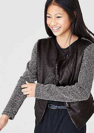 Sweat jacket with faux leather from s.Oliver