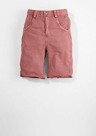 Sweatbermuda met een garment washed effect